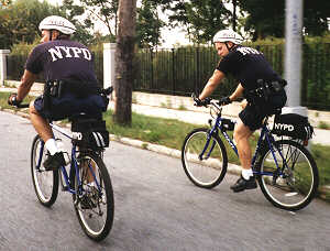 NYPD officers patrolling on bikes